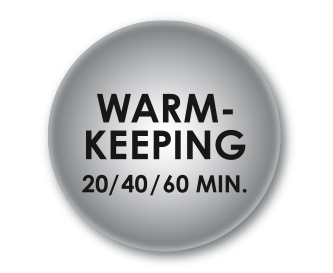 User friendly warm keeping feature (20, 40 or 60 minutes)